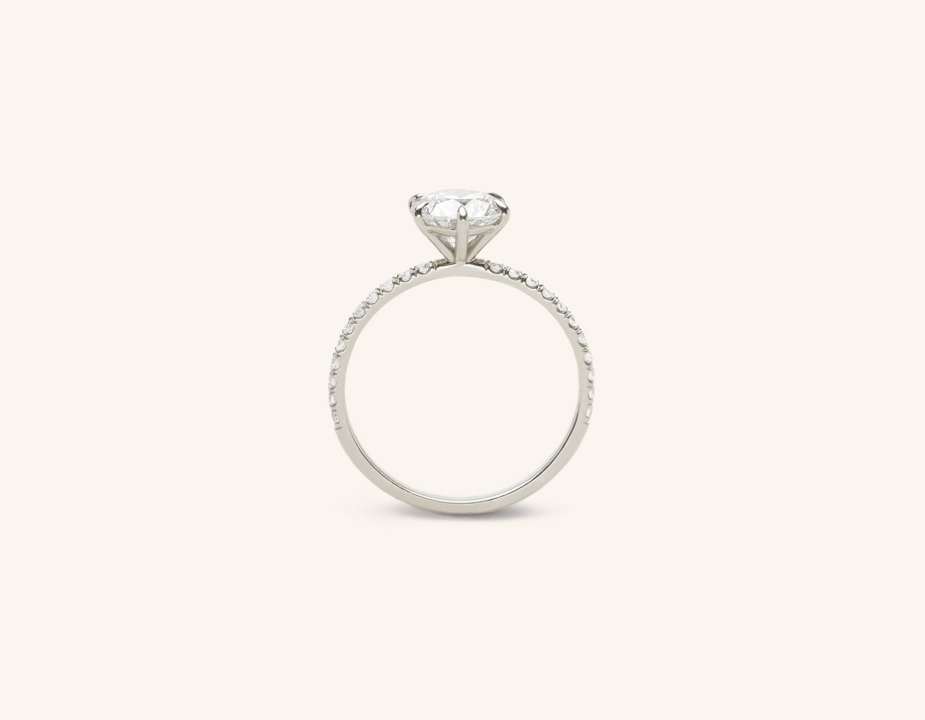 Vrai and Oro classic The Solitaire diamond pave engagement ring platinum sustainable jewelry