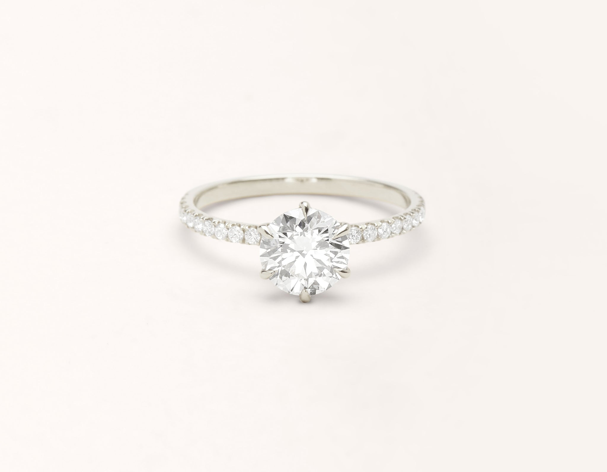 Minimalist 18k solid white gold The Solitaire pave engagement ring round brilliant cut 1 ct diamond Vrai and Oro