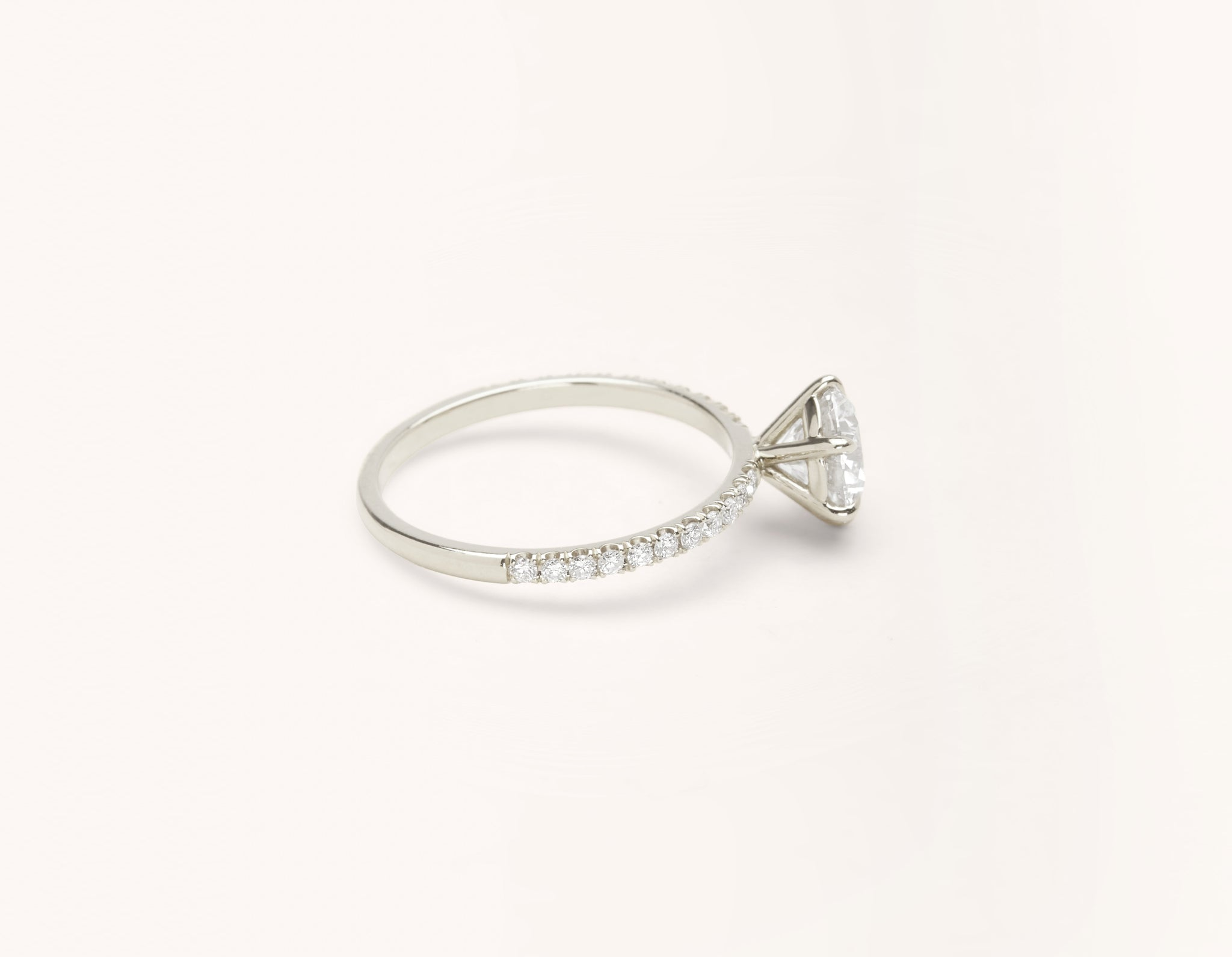 Simple modern 18k solid white gold 1 carat round brilliant Solitaire diamond pave engagement ring Vrai & Oro
