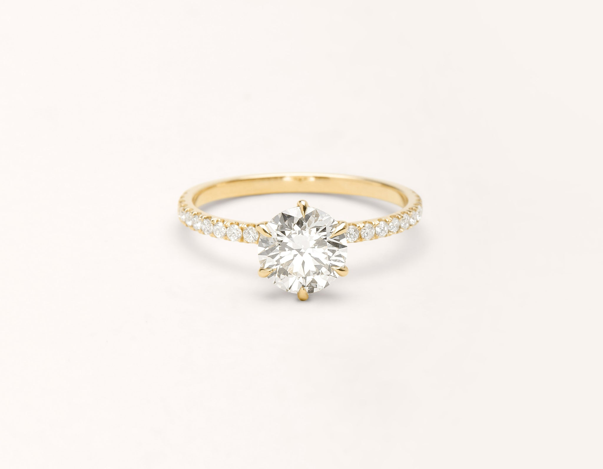 Minimalist 18k solid yellow gold The Solitaire pave engagement ring round brilliant cut 1 ct diamond Vrai and Oro