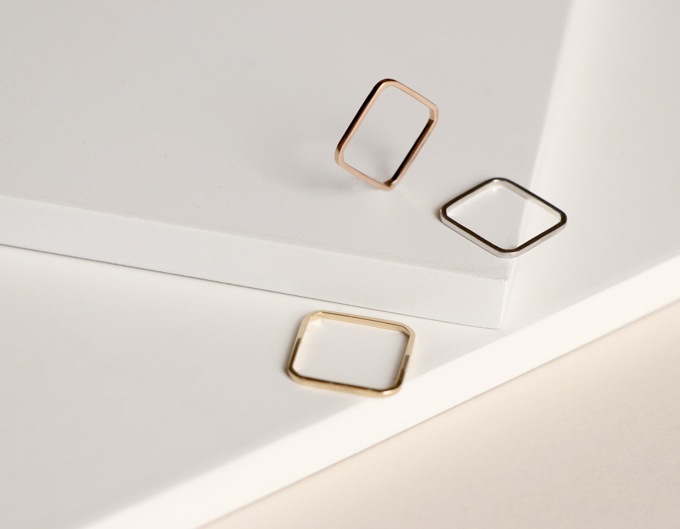 Vrai and Oro 14k yellow gold rose gold white gold stacking rings Square Ring minimalist modern jewelry