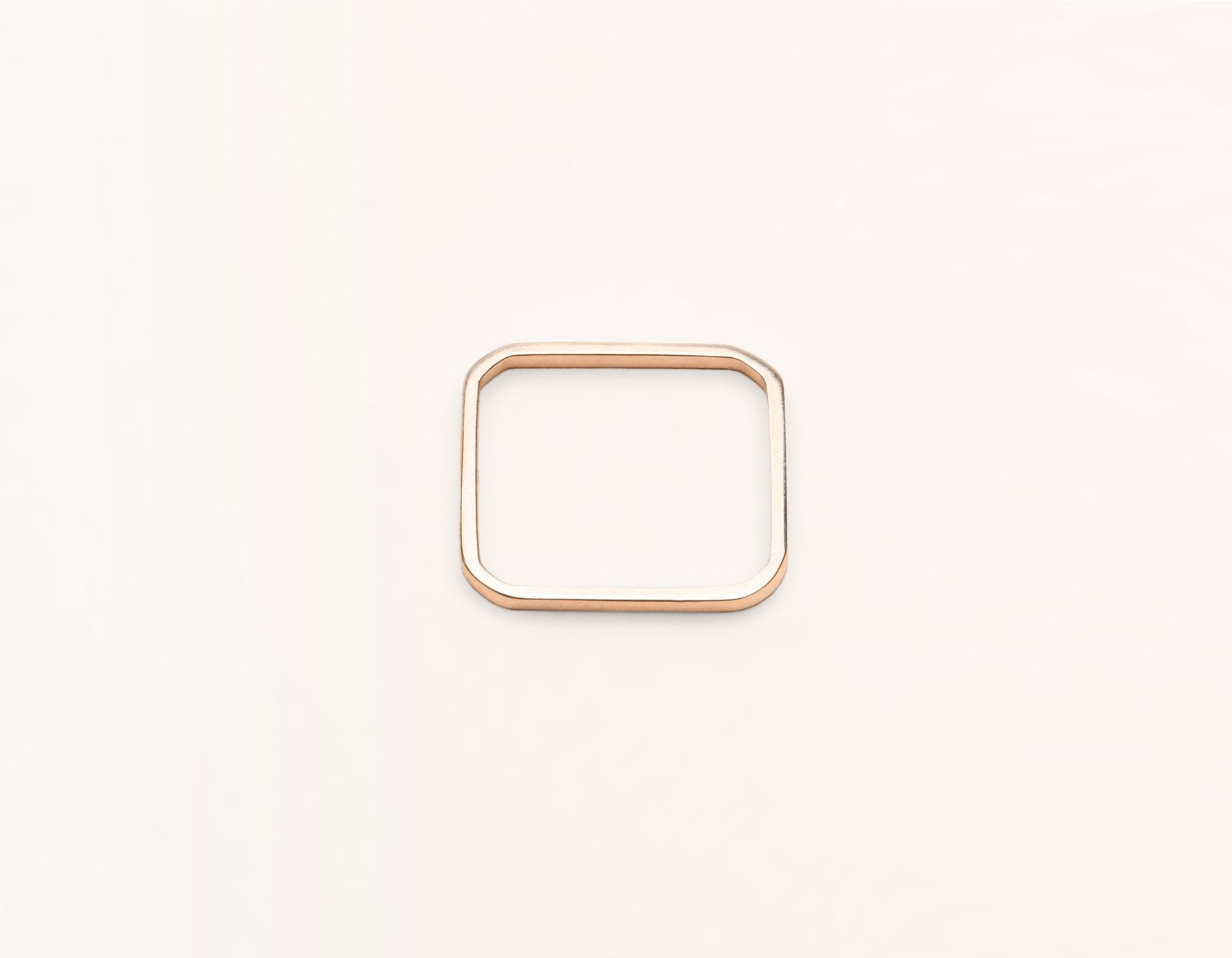modern minimalist Square Ring unique stacker 14k solid gold Vrai & Oro, 14K Rose Gold