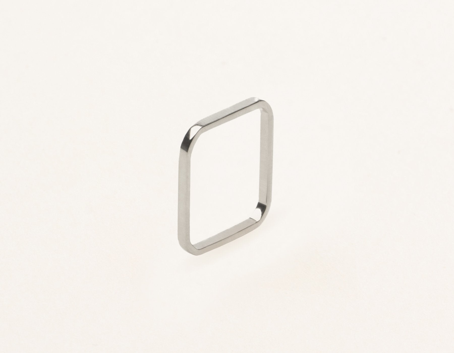 Thin simple structural Square Stacking Ring 14k solid gold Vrai and Oro, 14K White Gold