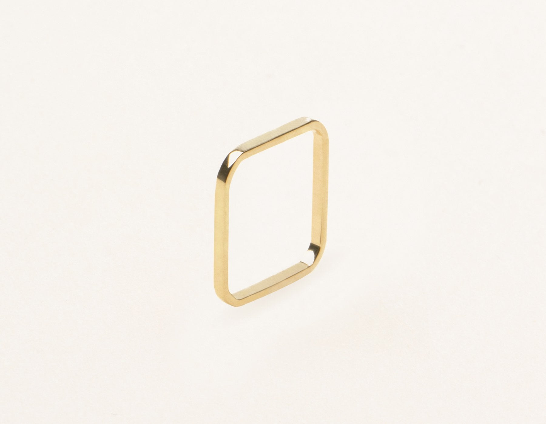 Thin simple structural Square Stacking Ring 14k solid gold Vrai and Oro, 14K Yellow Gold