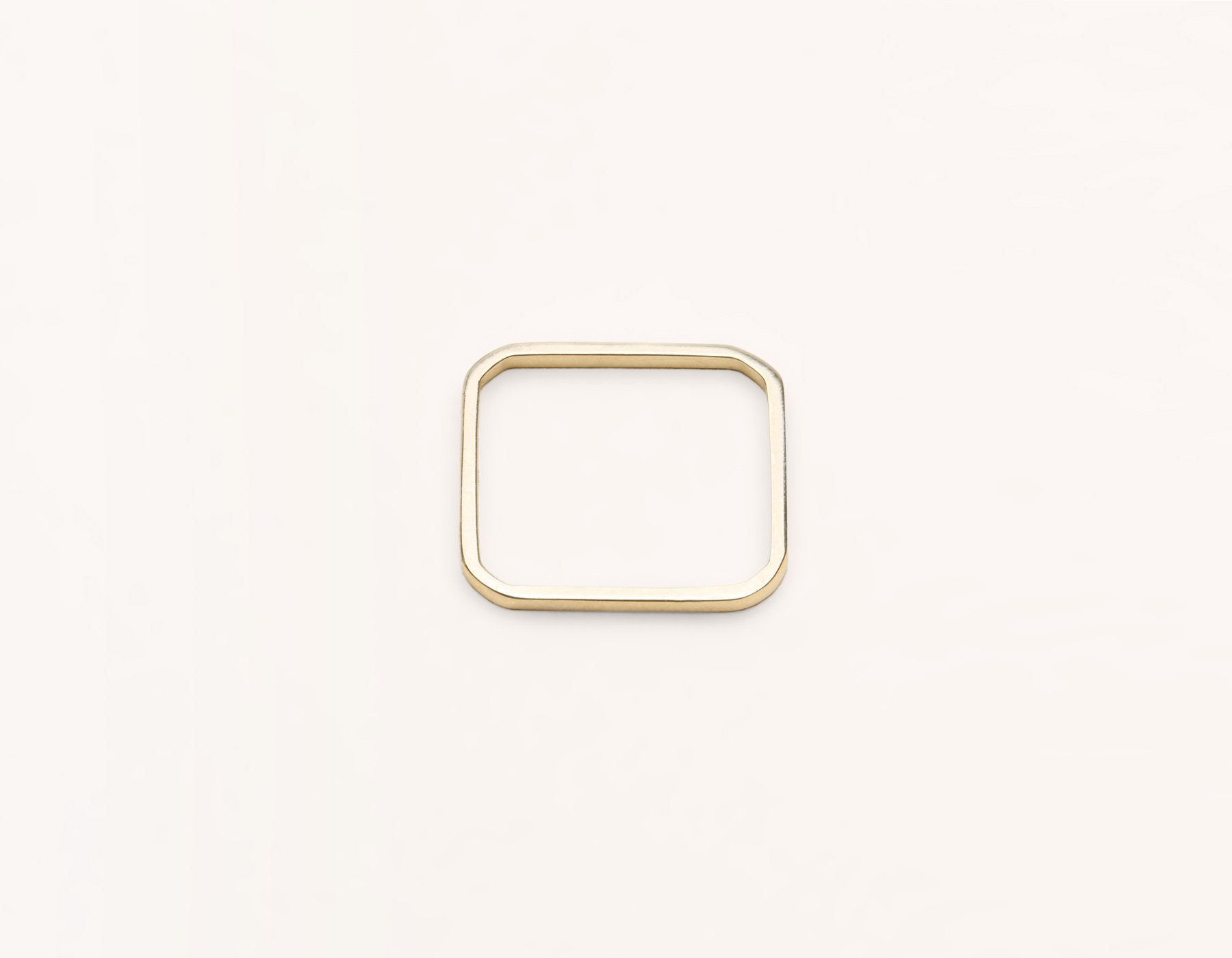 modern minimalist Square Ring unique stacker 14k solid gold Vrai & Oro, 14K Yellow Gold