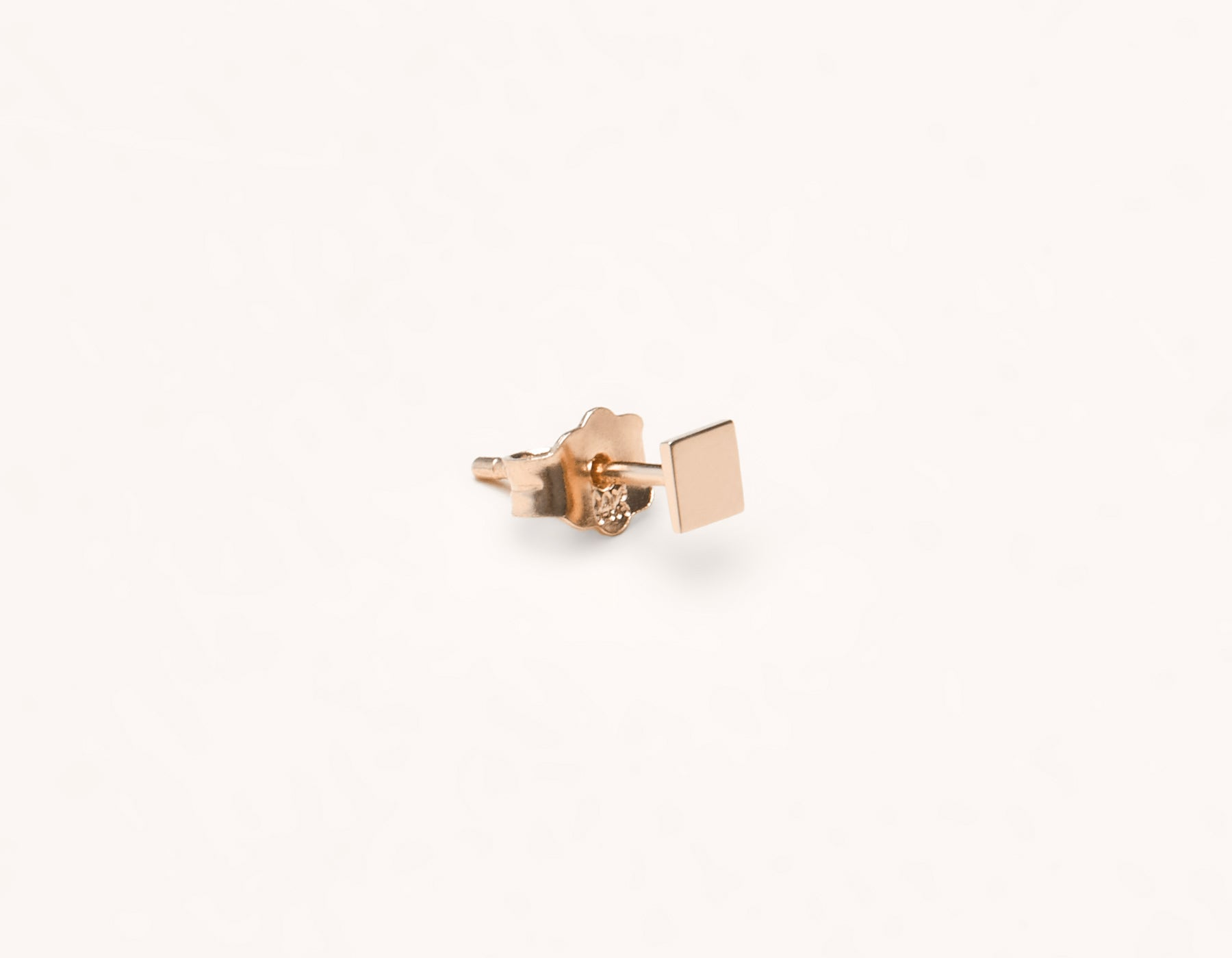 Basic subtle Square Stud earring 14k solid gold Vrai & Oro versatile jewelry, 14K Rose Gold