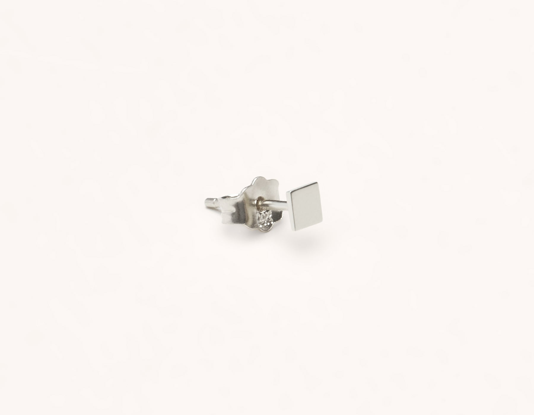 Basic subtle Square Stud earring 14k solid gold Vrai & Oro versatile jewelry, 14K White Gold