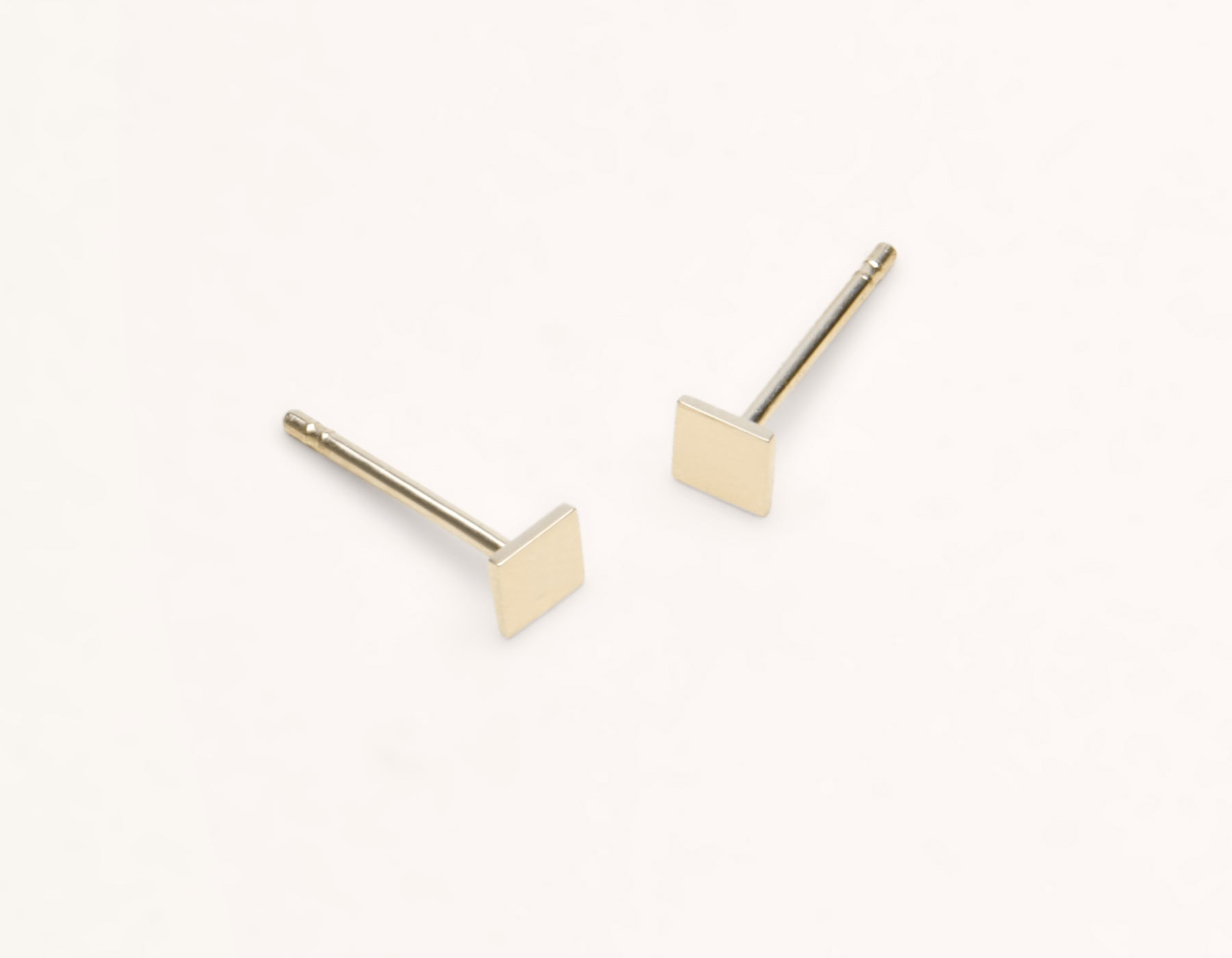 Modern minimalist Square Studs 14k solid gold post earrings Vrai and Oro, 14K Yellow Gold