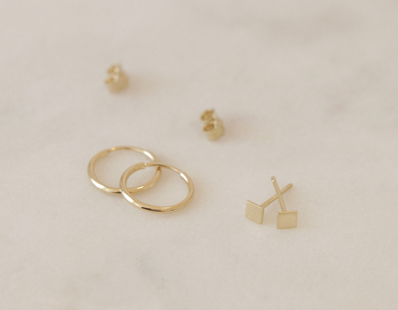 Minimalist Square Stud Small Hoops earrings solid 14k gold Vrai & Oro simple elegant jewelry