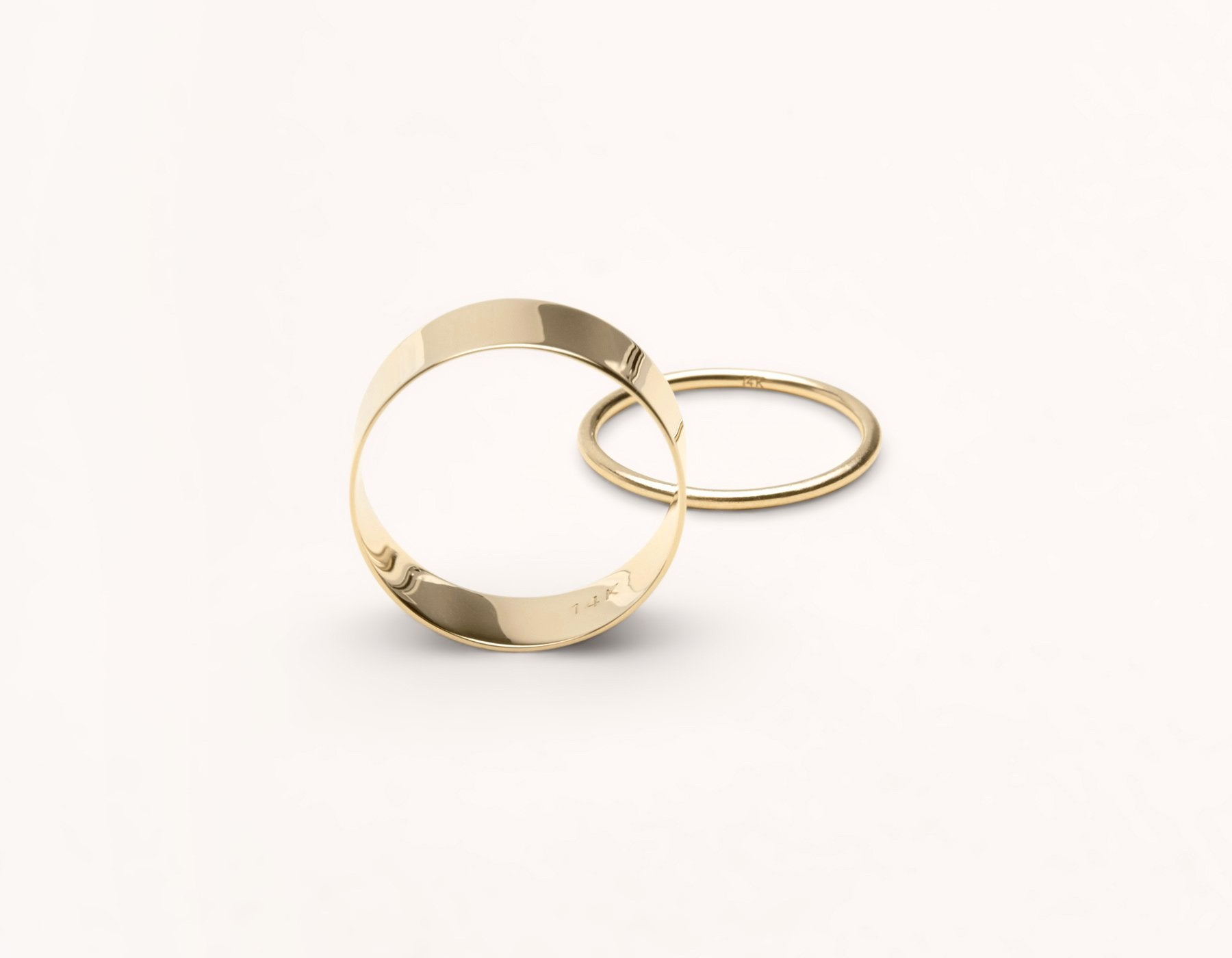 14k solid gold Modern Minimalist Vrai & Oro Thick Stacking Ring Skinny Stacker, 14K Yellow Gold