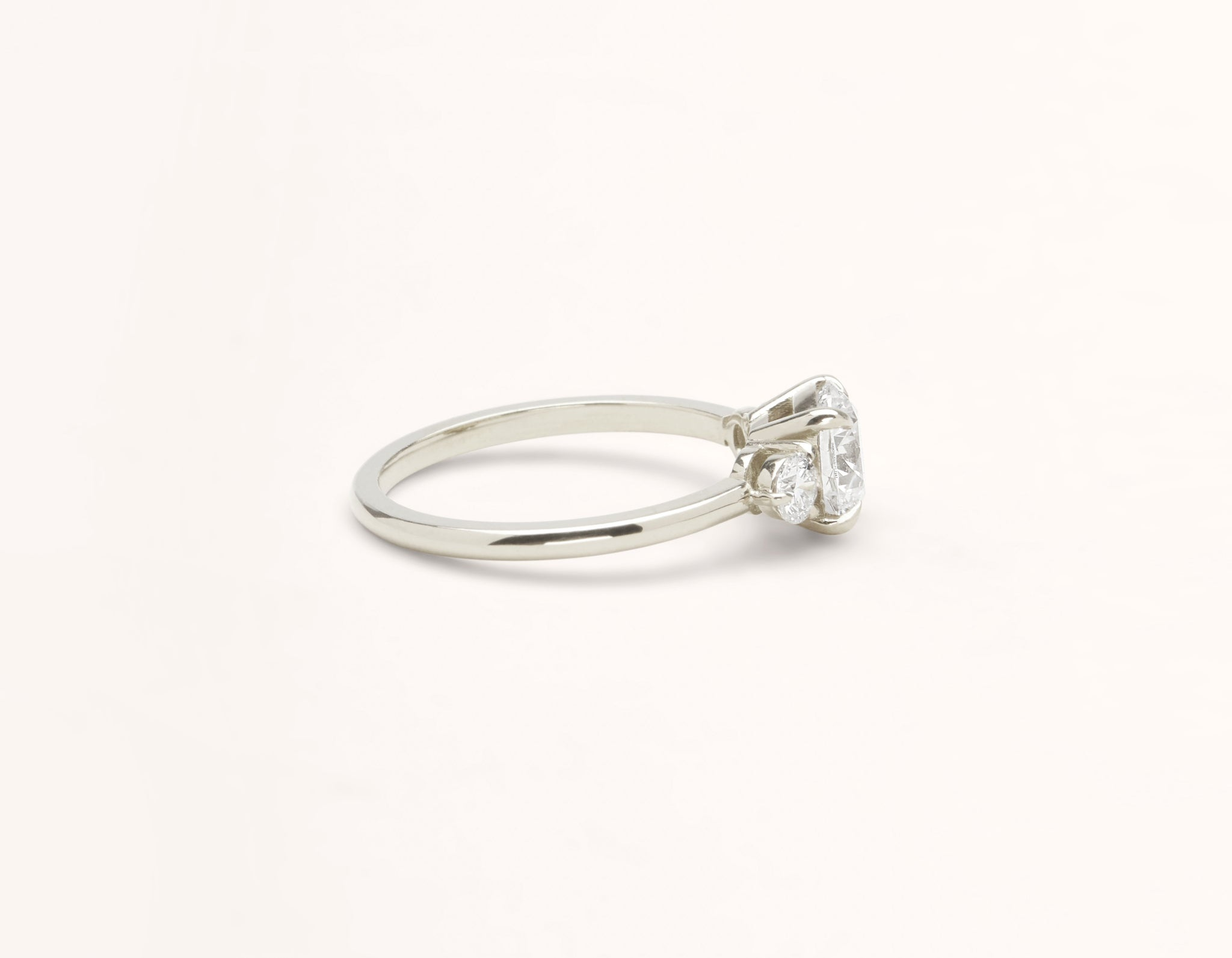 Simple modern 18k solid white gold 1 carat Three Stone diamond engagement ring Vrai & Oro