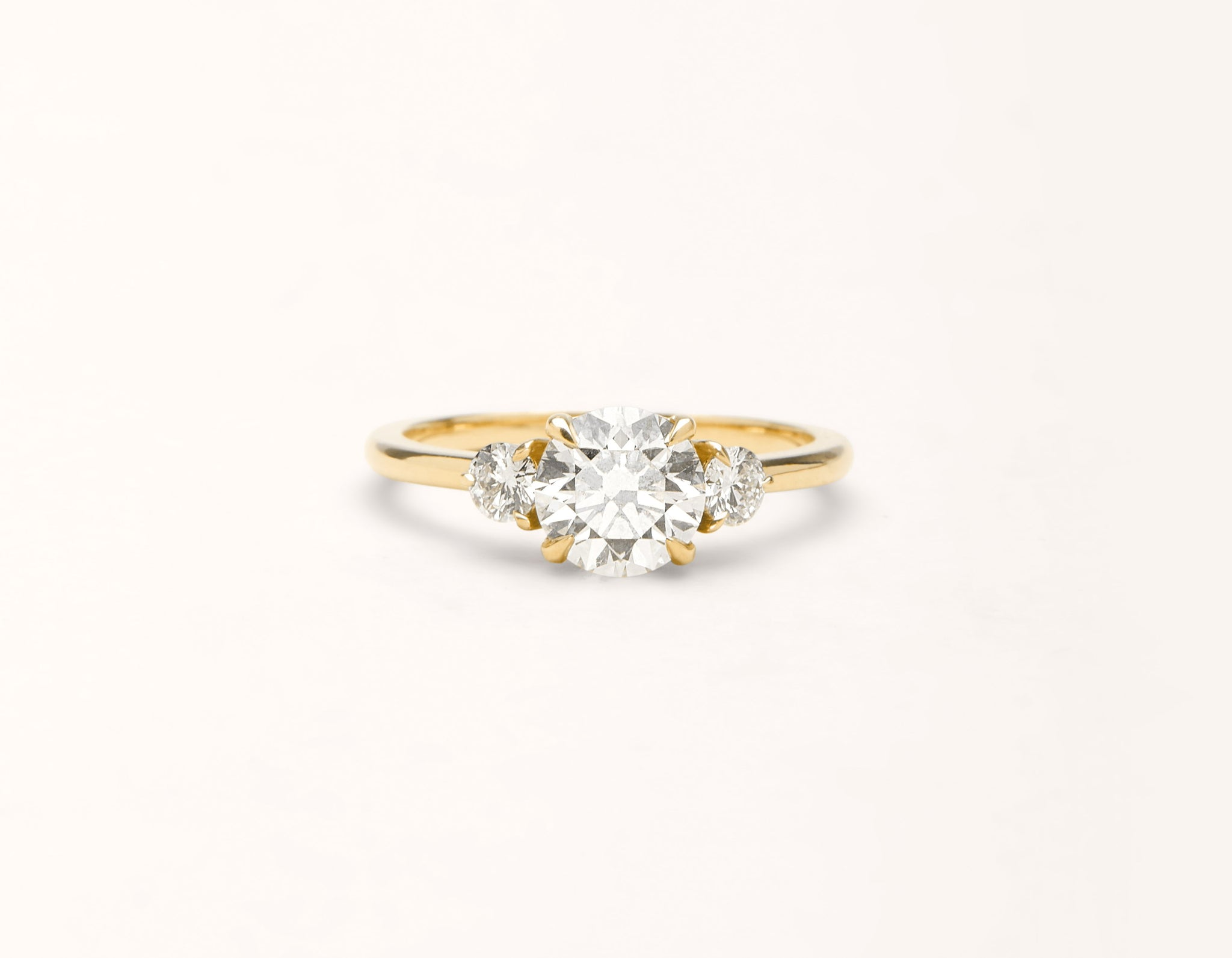 Minimalist 18k solid yellow gold The Three Stone engagement ring 1 ct round diamond Vrai and Oro