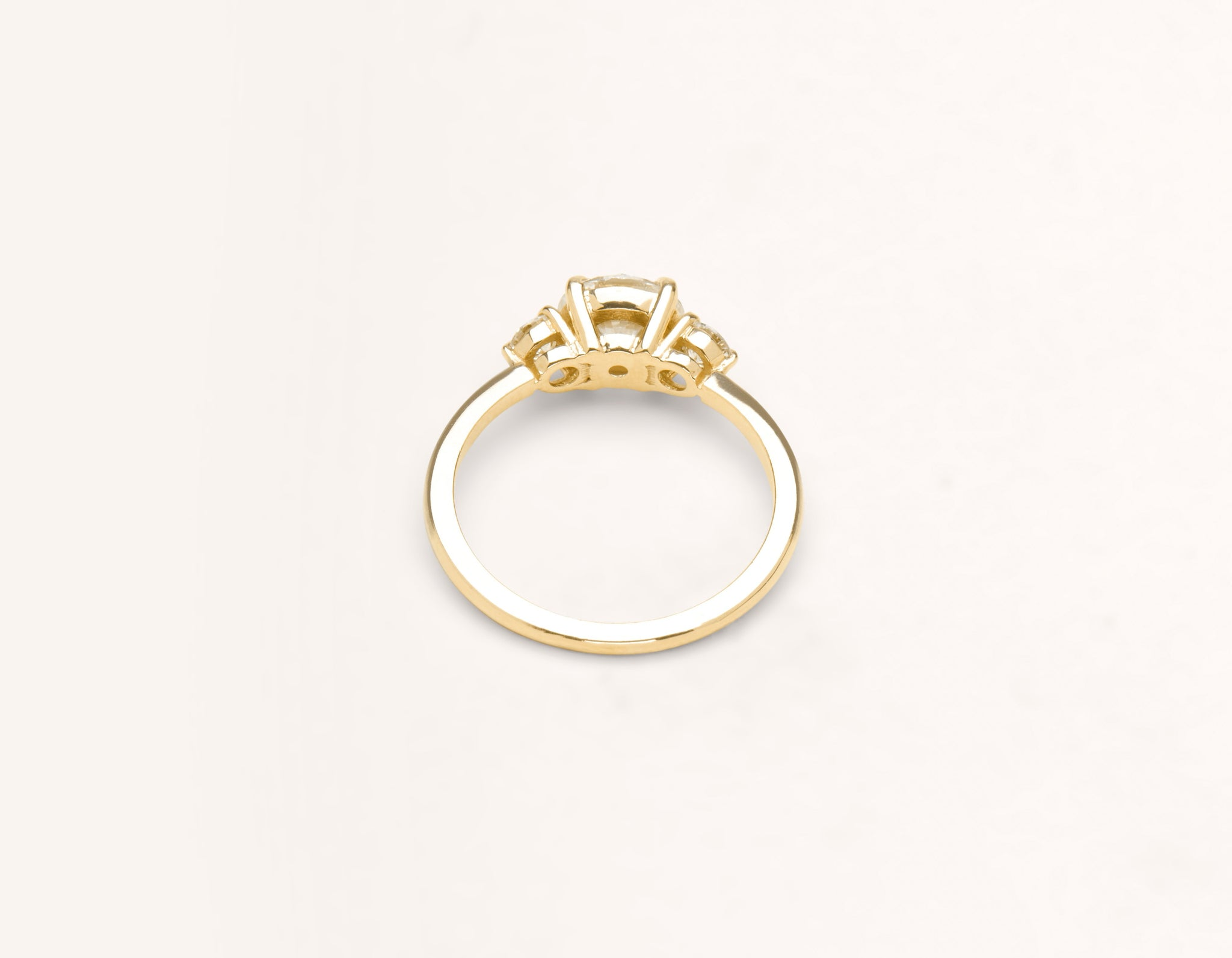 Vrai & Oro 18k solid yellow gold Diamond engagement ring The Three Stone simple classic band