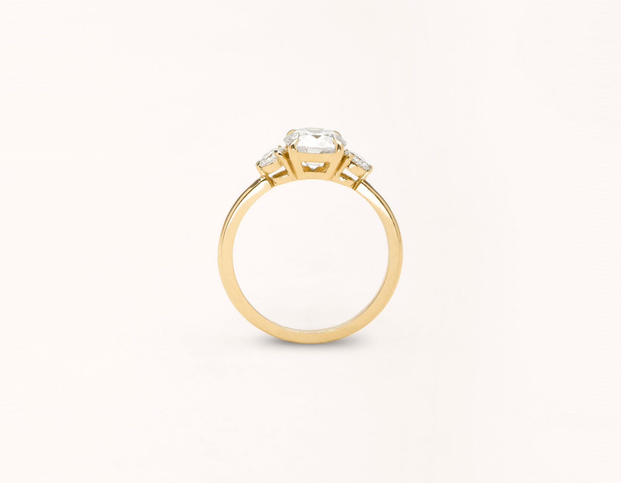 Vrai and Oro modern classic The Three Stone diamond engagement ring 18k solid yellow gold sustainable jewelry