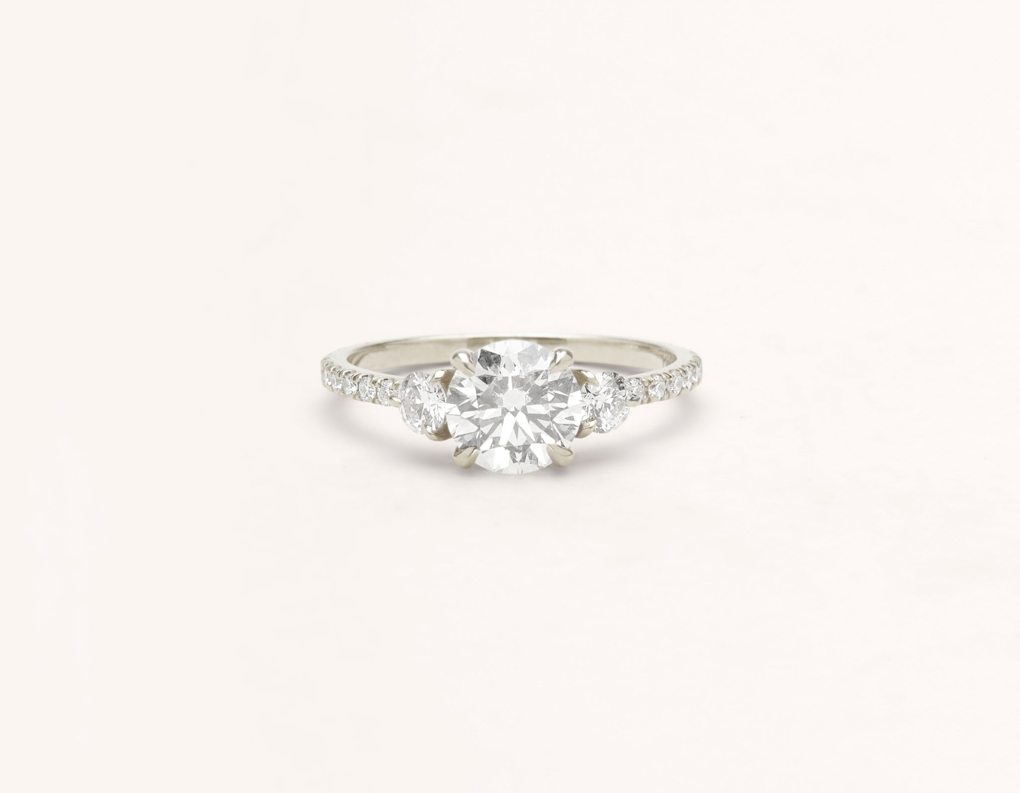 Minimalist 18k solid white gold The Three Stone pave engagement ring 1 ct round diamond Vrai and Oro
