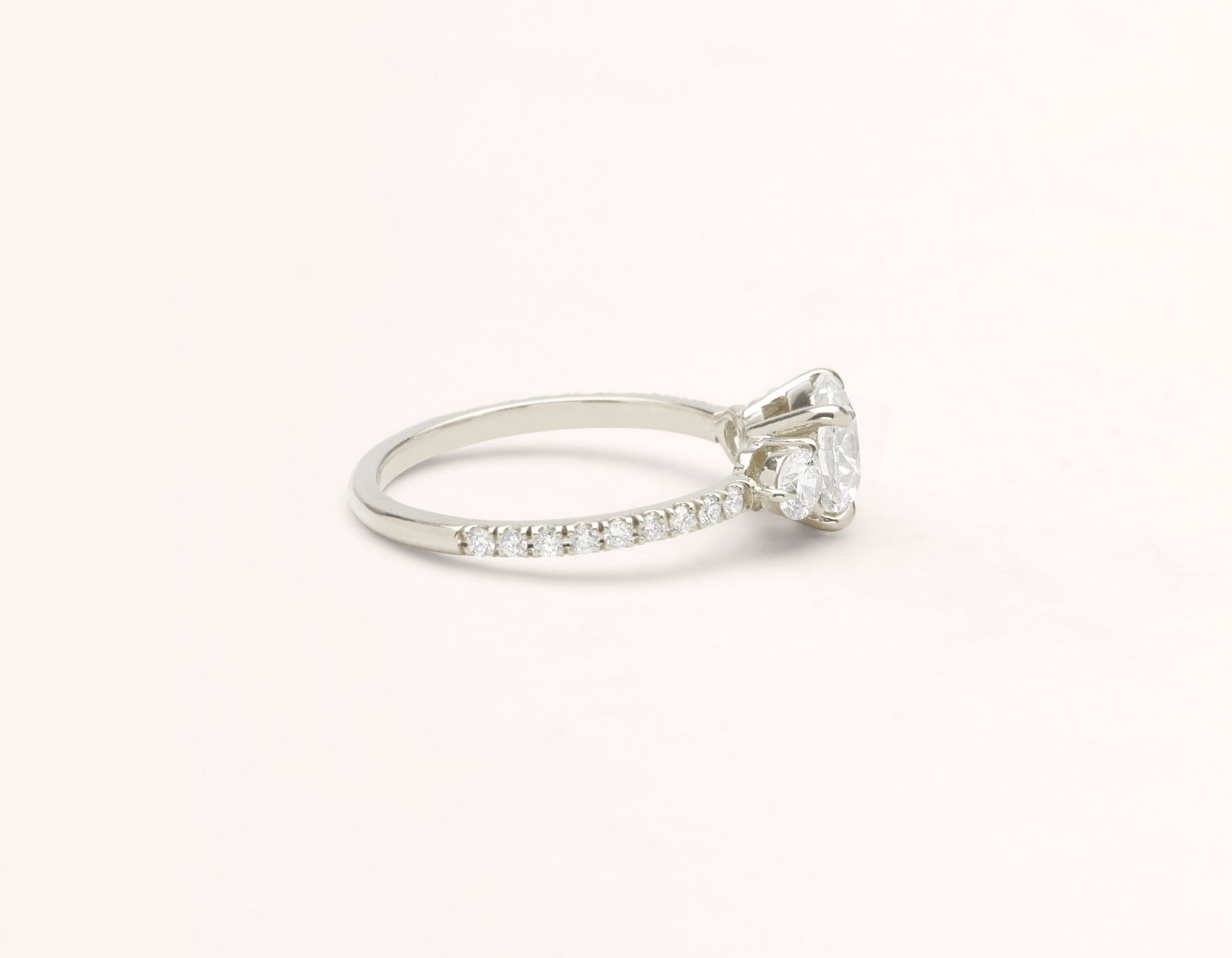 Simple modern 18k solid white gold 1 carat Three Stone diamond pave engagement ring Vrai & Oro