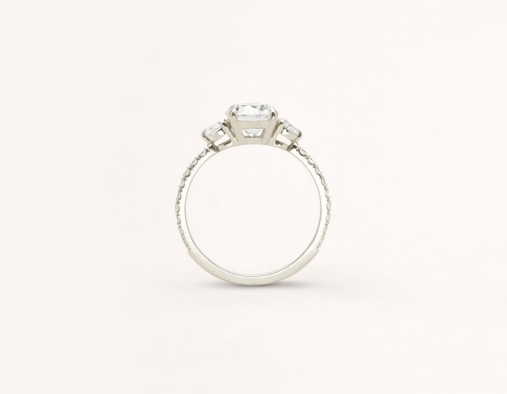 Vrai and Oro classic The Three Stone diamond pave engagement ring 18k solid white gold sustainable jewelry