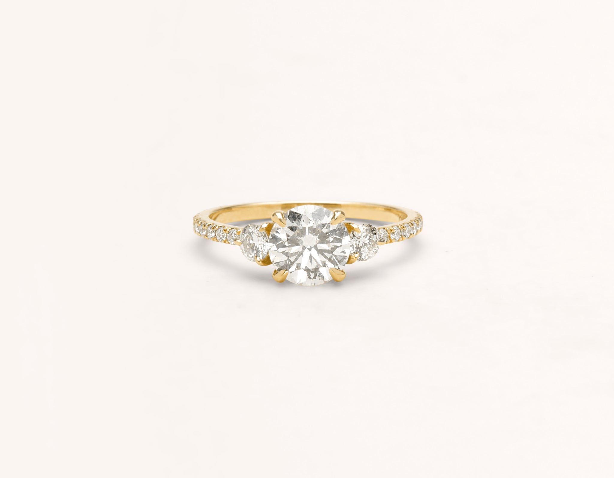 Minimalist 18k solid yellow gold The Three Stone pave engagement ring 1 ct round diamond Vrai and Oro
