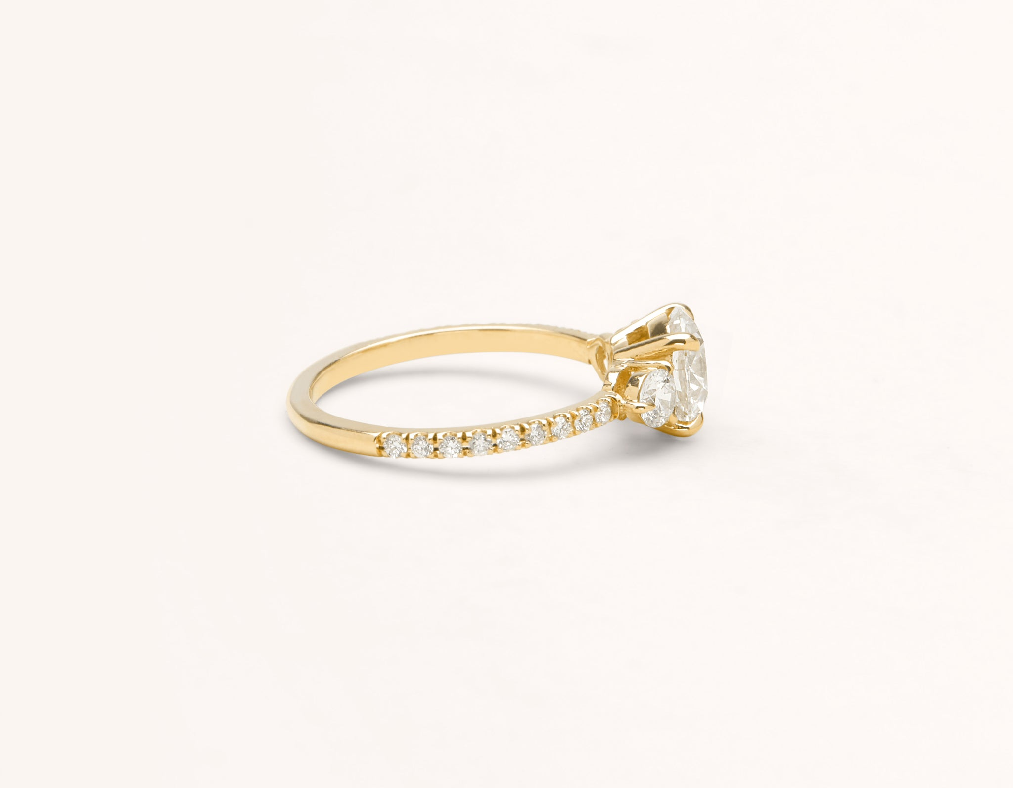Simple modern 18k solid yellow gold 1 carat Three Stone diamond pave engagement ring Vrai & Oro