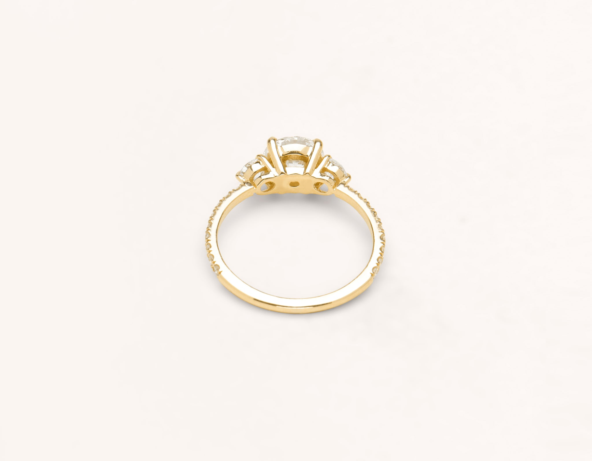Vrai & Oro 18k solid yellow gold Diamond engagement ring The Three Stone pave simple classic band