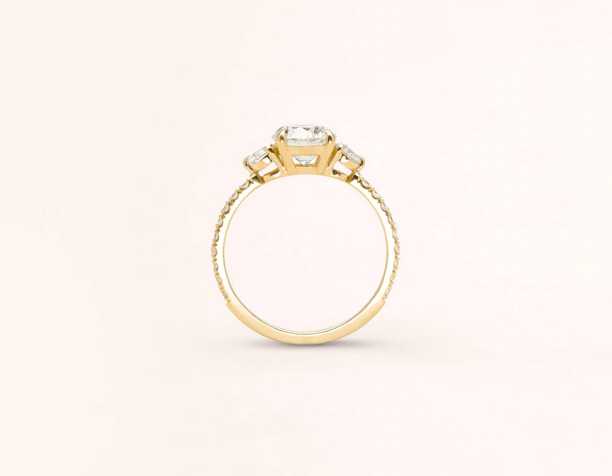 Vrai and Oro classic The Three Stone diamond pave engagement ring 18k solid yellow gold sustainable jewelry