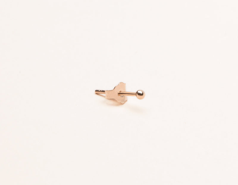 Vrai & Oro modern minimalist Tiny Dot stud Earrings 14k solid gold, 14K Rose Gold