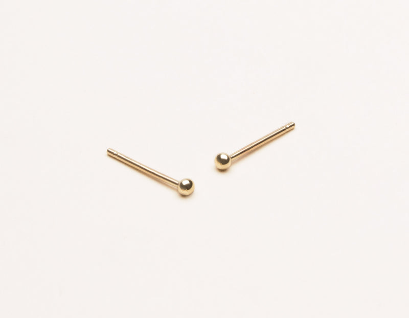 Vrai and Oro simple classic 14k solid gold Tiny Dot Earrings Studs, 14K Yellow Gold