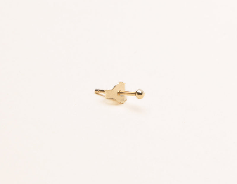 Vrai & Oro modern minimalist Tiny Dot stud Earrings 14k solid gold, 14K Yellow Gold
