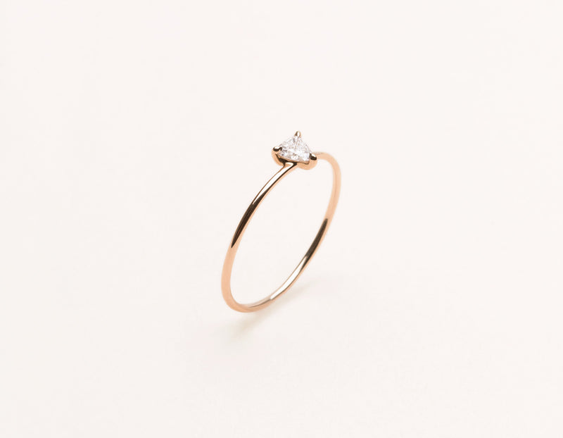 Delicate minimalist .17 ct Trillion Diamond Stacking Ring Vrai & Oro, 14K Rose Gold