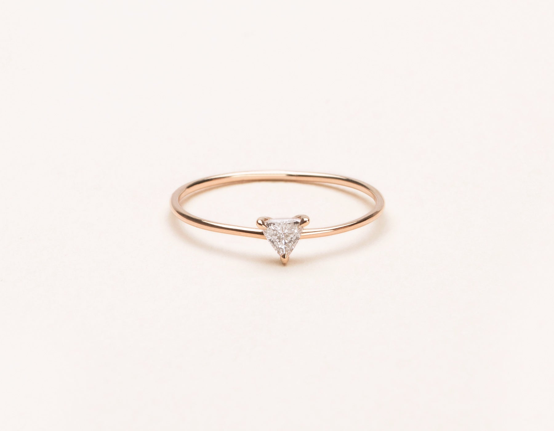 Simple modern Trillion Diamond Ring stacker Vrai and Oro minimalist jewelry, 14K Rose Gold