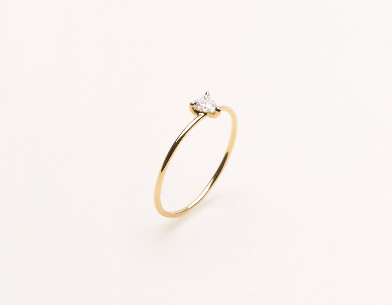Delicate minimalist .17 ct Trillion Diamond Stacking Ring Vrai & Oro, 14K Yellow Gold