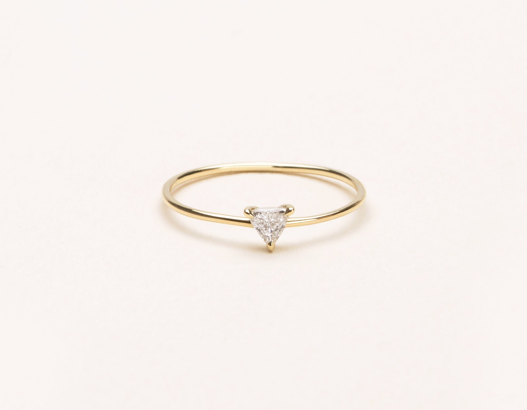 Simple modern Trillion Diamond Ring stacker Vrai and Oro minimalist jewelry, 14K Yellow Gold