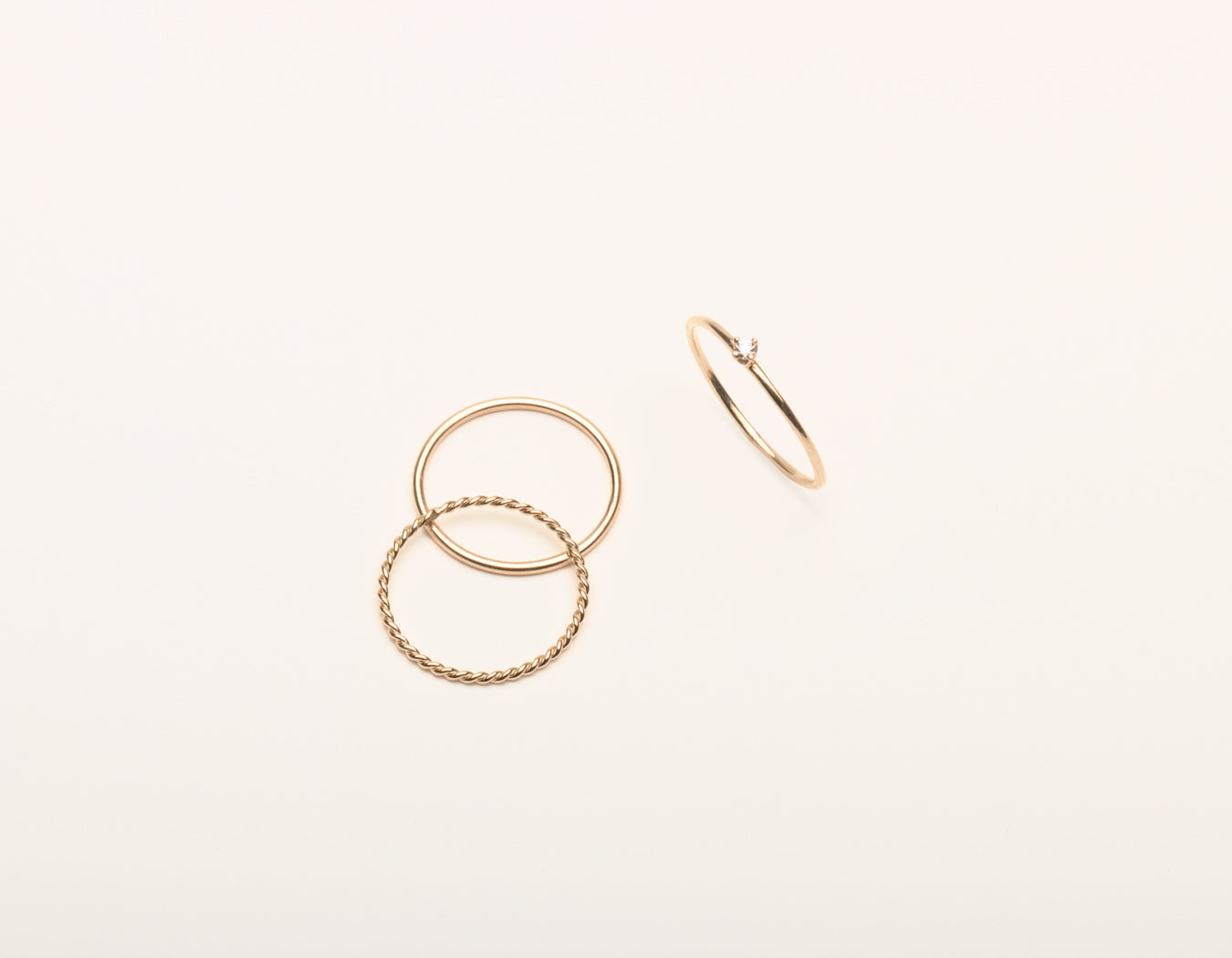 14k Solid gold Trio Bundle Rings simple elegant round diamond stacker twist ring skinny stacking ring, 14K Rose Gold
