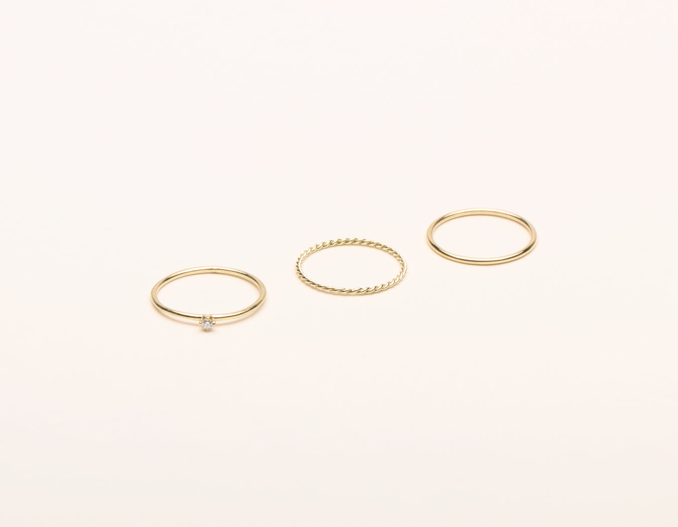 Vrai & Oro 14k solid gold Trio Bundle Rings modern Minimalist twist skinny stacker round diamond stacker, 14K Yellow Gold