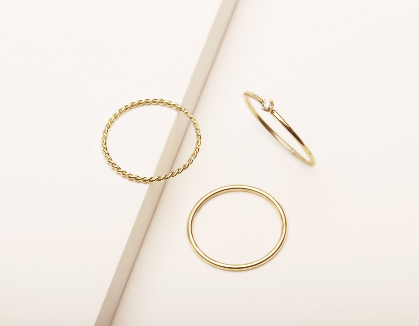 Vrai and Oro simple classic Trio Bundle Rings 14k solid gold Skinny Stacking Round Diamond Stacker and Twist Ring, 14K Yellow Gold