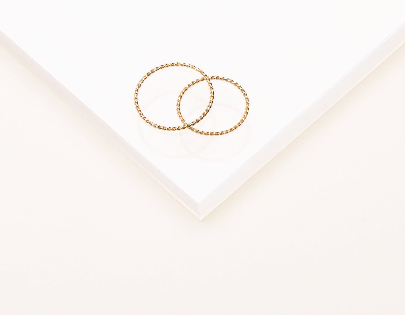 delicate elegant braided Twist Ring stacking 14k solid gold Vrai & Oro minimalist jewelry, 14K Yellow Gold