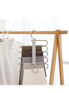 Adjustable Stainless Steel 5 Layers Pants Skirts Organizer Multifunctional Trousers Hanger Space Saving