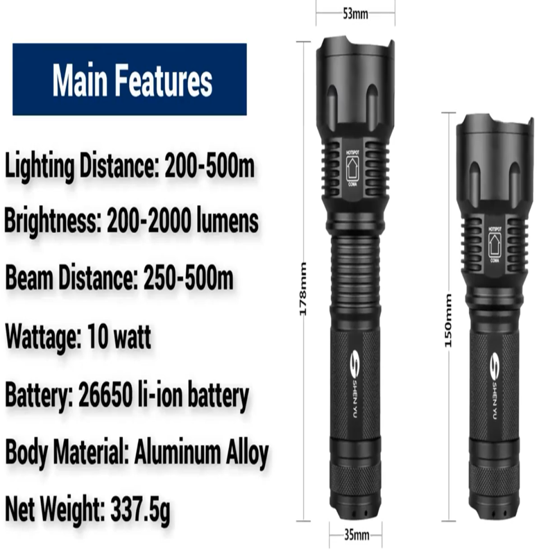 Waterproof Strong light Flashlight