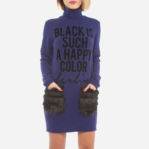 FLEECE POCKET KNIT SWEATER DRESS