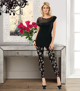 SHEER INSERT PAJAMA SET
