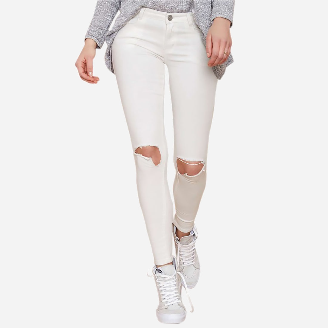 KNEE CUT OUT STRETCH PANTS