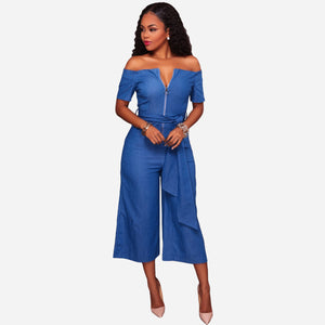 OFF SHOULDER DENIM JUMPSUIT