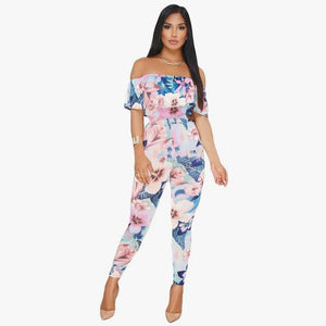 Floral Ruffle Off Shoulder Jumpsuit