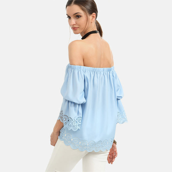 HOLLOW OUT OFF SHOULDER BLOUSE