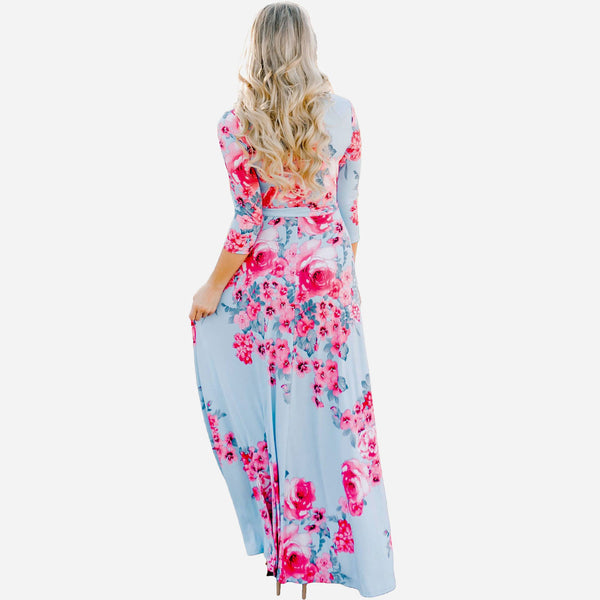 LIGHT BLUE FLOWER PRINT MAXI DRESS