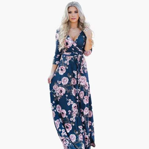 Dark blue flower print maxi dress