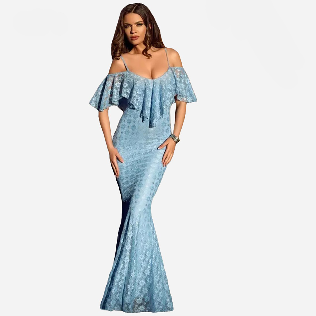 FRILL OFF SHOULDER MERMAID DRESS