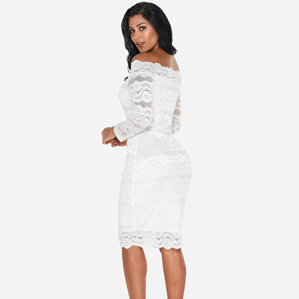 SCALLOPED OFF SHOULDER LACE DRESS