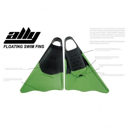 Ally Floating Swim Fins Black/Green - Swim Fins - 662 Bodyboard Shop