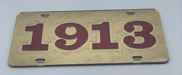 Delta Sigma Theta - 1913 w/Embossed Letters Gold Mirror License Plate